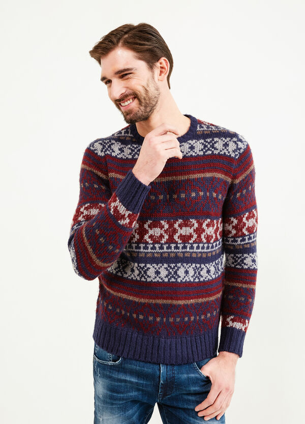 Knitted pullover with all-over embroidery | OVS