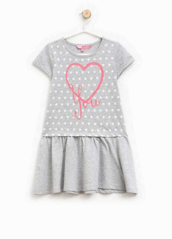 Cotton dress with glitter print | OVS