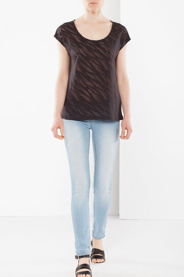 T-shirt semitrasparente, Nero, hi-res