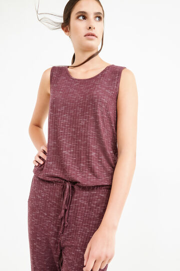 Stretch viscose ribbed playsuit, Claret Red, hi-res