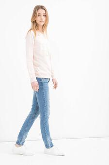 Cotton blend printed sweatshirt, Powder Pink, hi-res