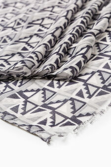 100% viscose patterned scarf, Grey, hi-res