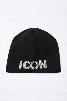 Embroidered beanie cap, Black, hi-res