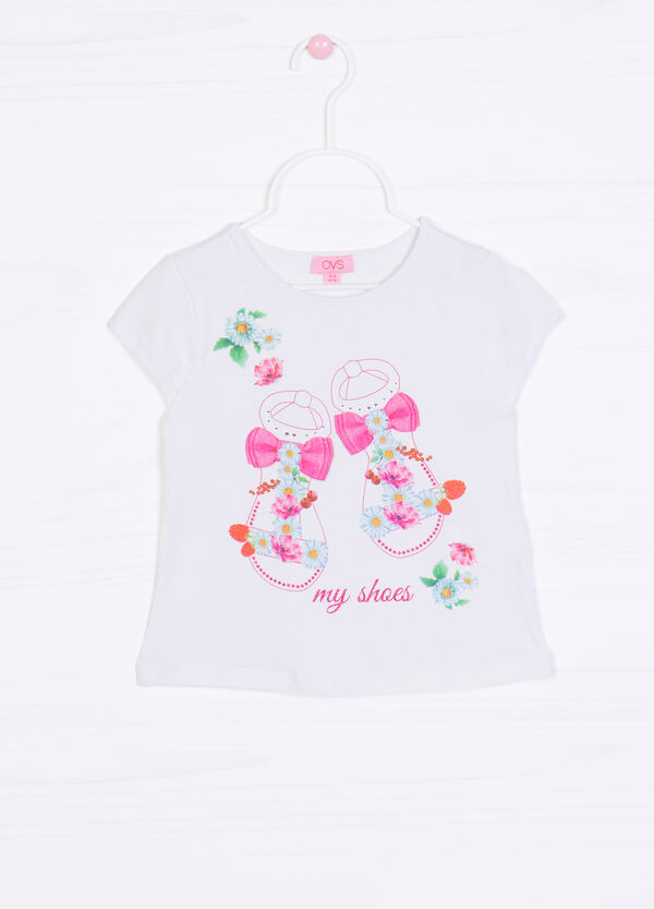 Stretch T-shirt with glitter and print | OVS