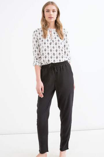 100% viscose trousers with drawstring, Black, hi-res