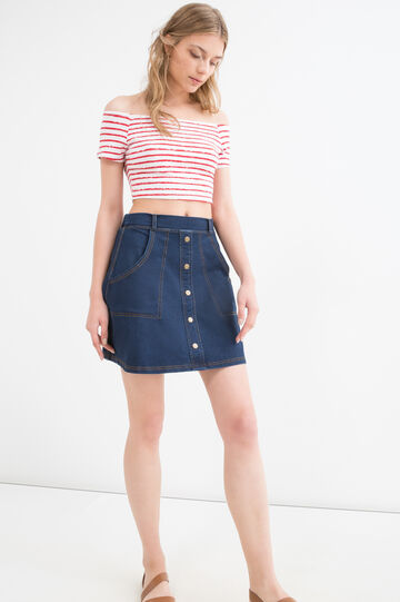 Striped crop T-shirt in stretch cotton