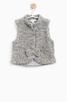 Wool blend waistcoat with bow, Dark Grey, hi-res