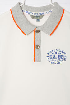 100% cotton polo shirt with small print, White, hi-res