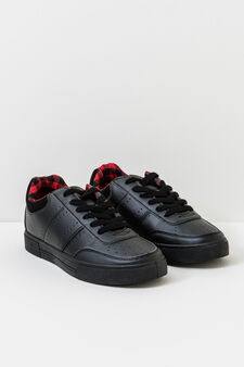 Solid colour lace-up sneakers, Black, hi-res