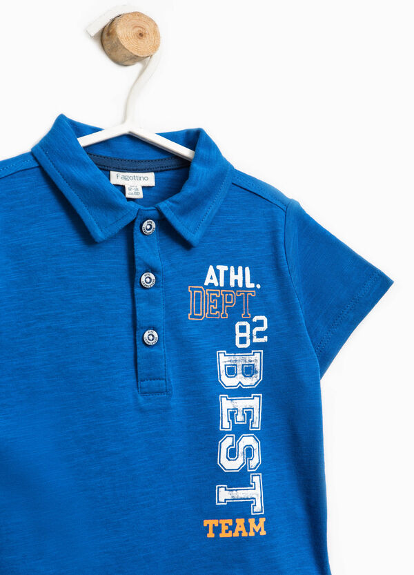 Cotton polo shirt with printed lettering | OVS
