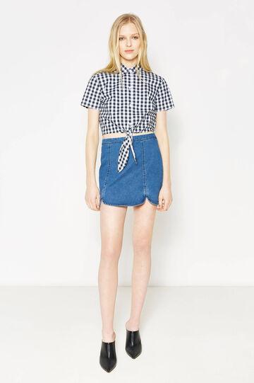 High-waisted skirt in stretch denim, Dark Blue, hi-res