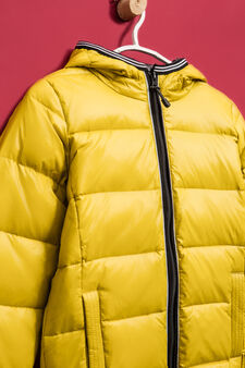 Real down jacket with hood, Acid Green, hi-res