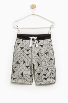 Cotton Bermuda shorts with geometric pattern, Grey Marl, hi-res