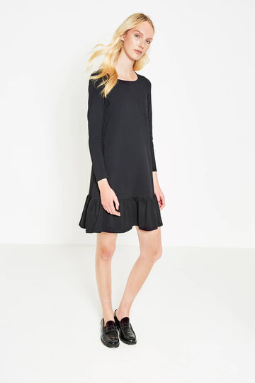 Stretch cotton dress with flounces