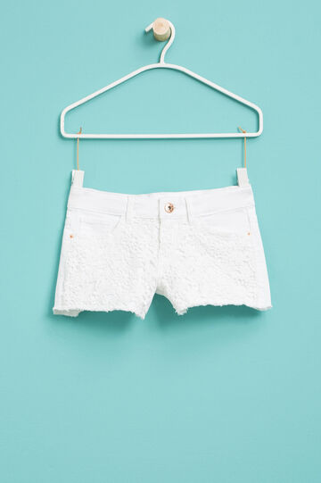 Stretch shorts with lace, White, hi-res