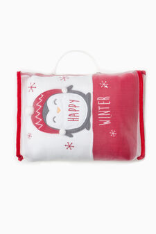 Solid colour and two-tone cotton blanket, White/Red, hi-res