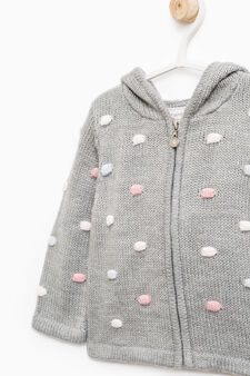 Raised weave knit cardigan with polka dots, Dark Grey, hi-res