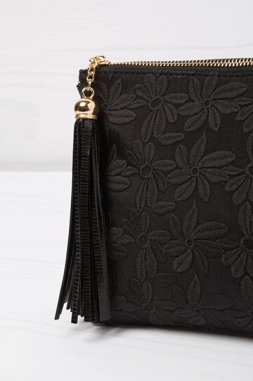 Solid colour embroidered clutch, Black, hi-res