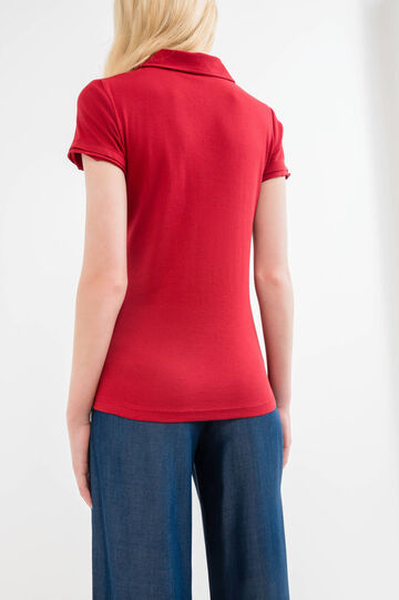 Diamanté V-neck polo shirt in 100% cotton, Red, hi-res
