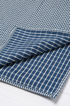 G&H check scarf in cotton blend, Blue, hi-res