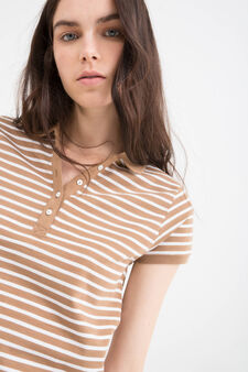 Striped polo shirt in 100% cotton, White/Brown, hi-res