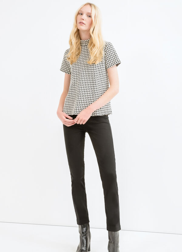 Patterned T-shirt in stretch cotton | OVS