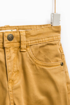 Solid colour slim-fit chino trousers, Ochre Yellow, hi-res