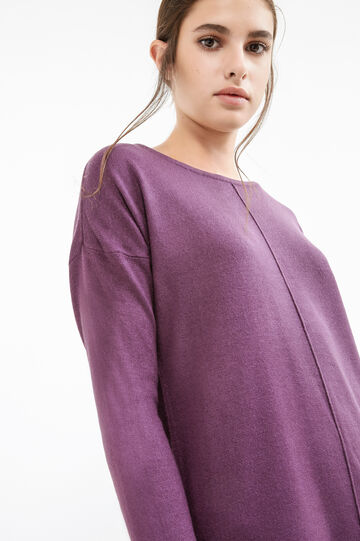 Pullover with boat neck, Purple, hi-res