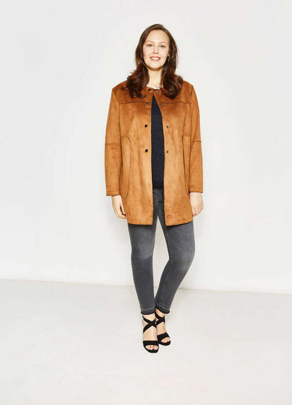 Curvy suede-effect coat | OVS