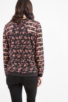 Stretch sweatshirt with semisheer inserts, Black, hi-res
