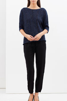 Mélange pullover with mid sleeves, Navy Blue, hi-res