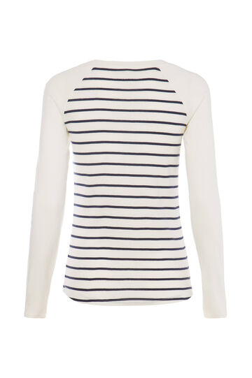 Smart Basic striped cotton T-shirt, White/Blue, hi-res