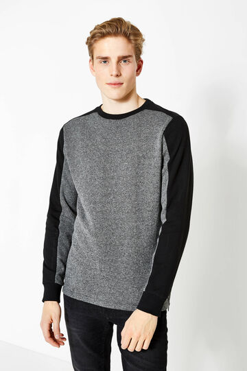 Sweatshirt in cotton with contrasting colour bands