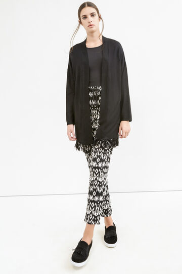 Viscose blend long cardigan with fringe, Black, hi-res