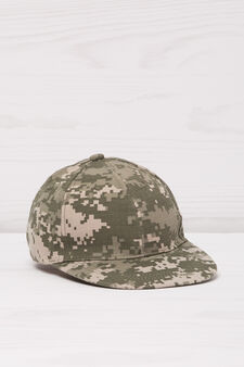 Patterned cotton baseball cap, Green, hi-res