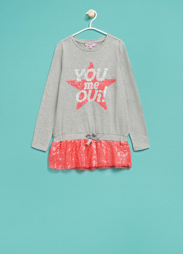 Long cotton T-shirt with sequins | OVS