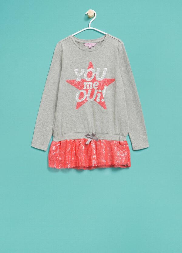 T-shirt lunga in cotone con paillettes | OVS
