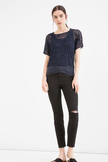 Solid colour stretch lace T-shirt, Blue, hi-res