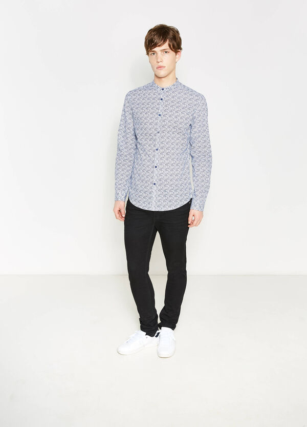 Printed slim-fit casual shirt | OVS