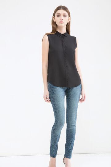 Jeans skinny fit con stampa, Blu scuro, hi-res