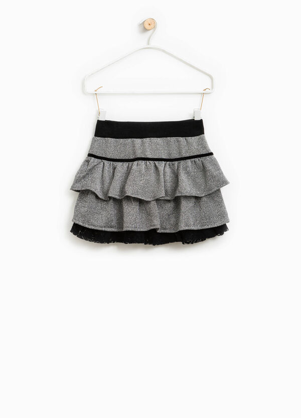Skirt with flounces and lace lining | OVS