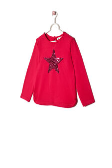Stretch sequinned T-shirt, Cherry Red, hi-res