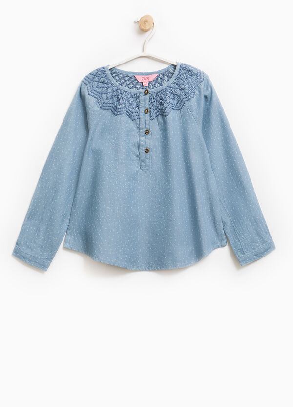 Polka dot patterned denim blouse | OVS