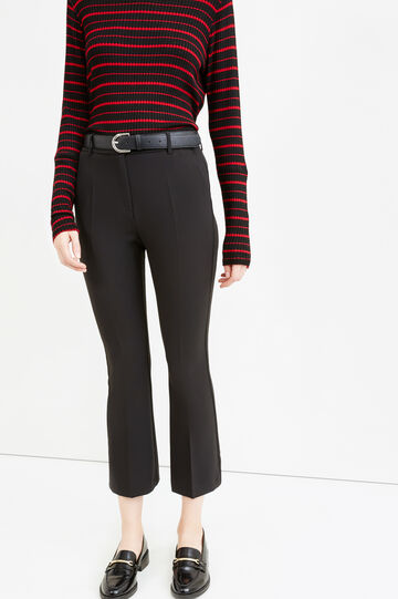 Stretch cropped flared trousers, Black, hi-res