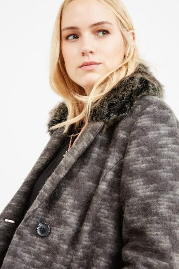 Curvy jacket with faux fur collar, Grey, hi-res