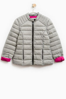 Solid colour light down jacket with zip, Grey, hi-res