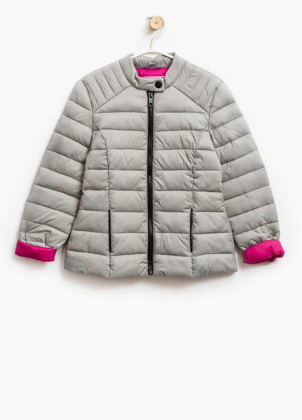 Solid colour light down jacket with zip | OVS