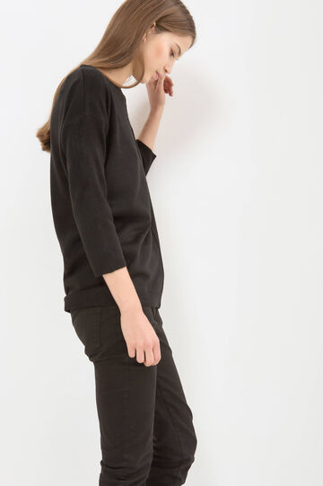 Solid colour ribbed pullover, Black, hi-res