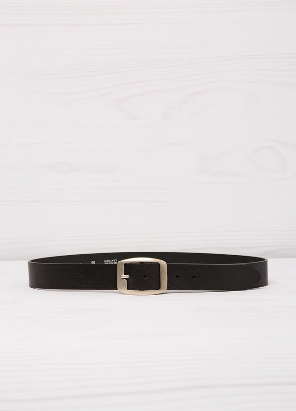 Leather belt with rectangular buckle. | OVS