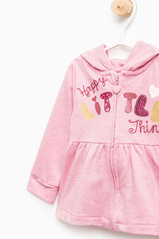 Cotton tracksuit with floral pattern, Pink, hi-res